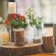 Thanksgiving , Holiday & Beyond Table Arrangement. Log slice floral &candle