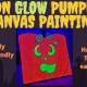 Halloween Neon GLOW Pumpkin Canvas Painting