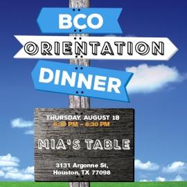 BCO Orientation Dinner