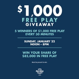 $1,000 FREE PLAY GIVEAWAY