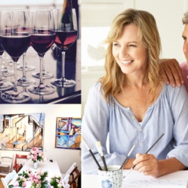 Couples' Art Night, Painting Lesson, Food & Wine! Jan 14th!