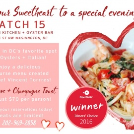 Valentine's Day at Catch 15 Italian Kitchen + Oyster Bar!