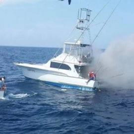 Nine rescued after a fishing boat goes up in flames near Hatteras57